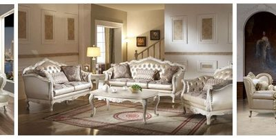 Ornate Formal Sofa Sets in White